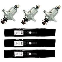 3 Spindles & 3 Blades Fit John Deere 145 155C D140 D150 D160 X140 Deck Lawnmower - $121.12