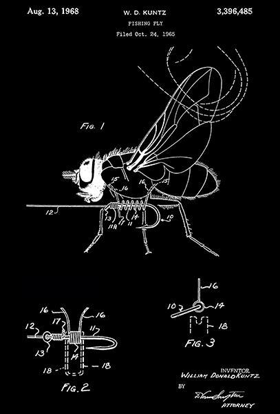 Primary image for 1968 - Fishing Fly - W. D. Kuntz - Patent Art Poster