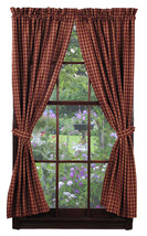 Olivia's Heartland country primitive Cambridge Wine plaid Panel curtains 72x84 - $79.95