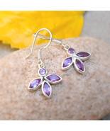 personalized gifts earrings for her Sterling Silver Amethyst Dangle Earr... - $34.50