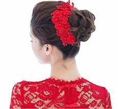 Beautiful Lace Fashion Bridal Hair Pins/Hair Clips, Red