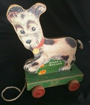 Old Fisher Price Woofy Wagger Wooden Pull Toy #447 1947 Antique Made in USA - $51.43