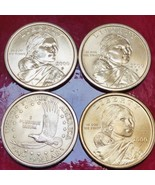 2000-P Sacajawea Susan B Anthony - 4 Gold Colored Coins Very Good Condit... - $32.18