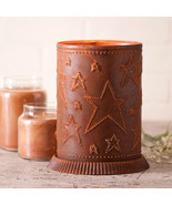 PUNCHED TIN CANDLE WARMER Country Stars Handmade Accent Light in Rustic Tin USA - £24.45 GBP