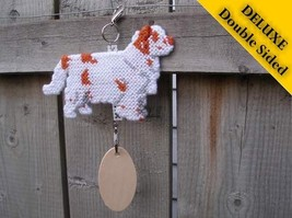 Clumber Spaniel Deluxe crate tag, hang anywhere, show dog agility, natural tail - $33.00