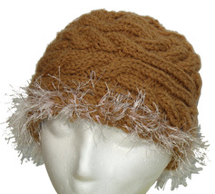 Brown hand knit hat with icy pink fringe - $25.00