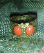 vintage brass & coral ring size 7 - $18.00