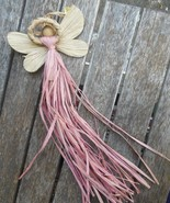 "Vintage Christmas  Raffia / Corn Husk Angel Ornament 9"" Mauve Pink  Silv... - $12.00"