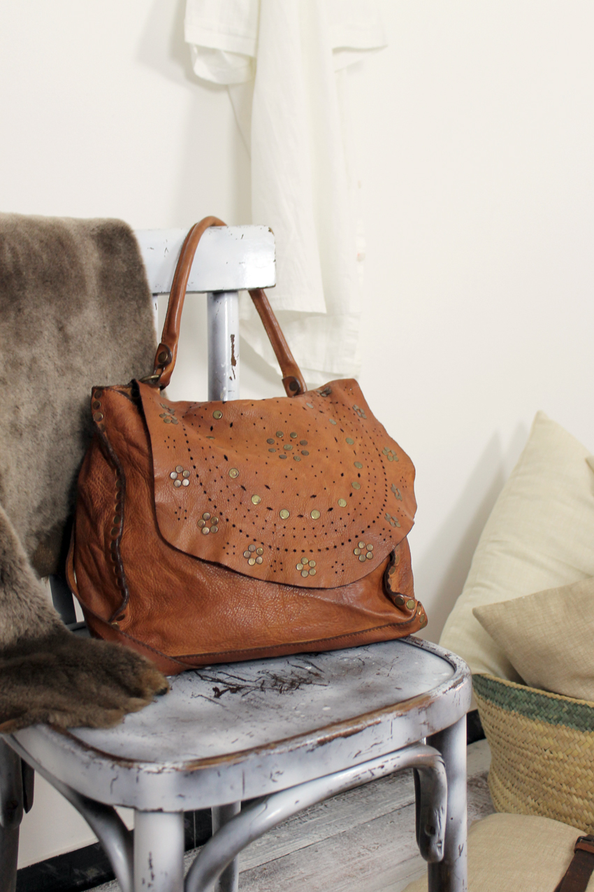 JOANNE handmade leather bag with studs