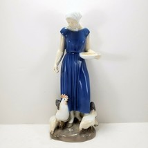 Bing & Grondahl B&G Porcelain Figurine Poultry Lady Girl Feeding Chickens 2220 - $94.05