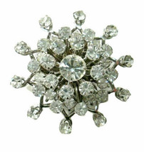 Vintage Prong Set Brooch Pin Sparkling White / Clear Rhinestone Silver Tone - $15.00