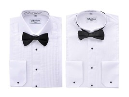 Berlioni Italy Men's Tuxedo Dress Shirt Wingtip & Laydown Collar with Bow-Tie