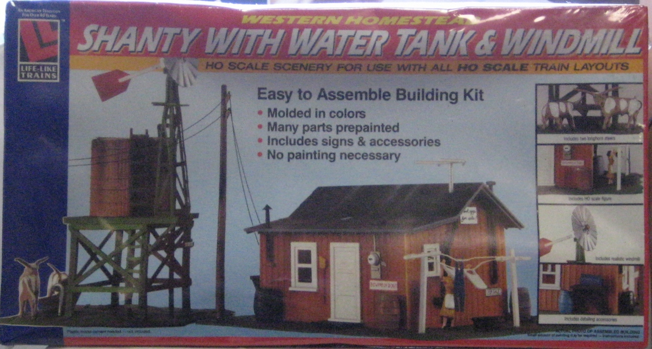HO Scale Western Homestead Shanty with Water Tank & Windmill Kit No 1338