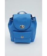 NWT Coach Blue Pebble Leather Mini Turnlock Rucksack Backpack Bag 37581 ... - $145.00