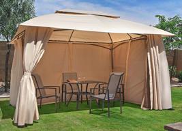 Steel Gazebo Large Canopy Vented Waterproof Curtains 10x13 Mosquito Nett... - $395.95
