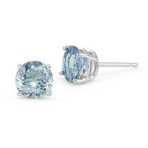 2.00 CT 6mm 14K WHITE GOLD LIGHT BLUE AQUAMARINE ROUND SHAPE STUD EARRIN... - $50.68