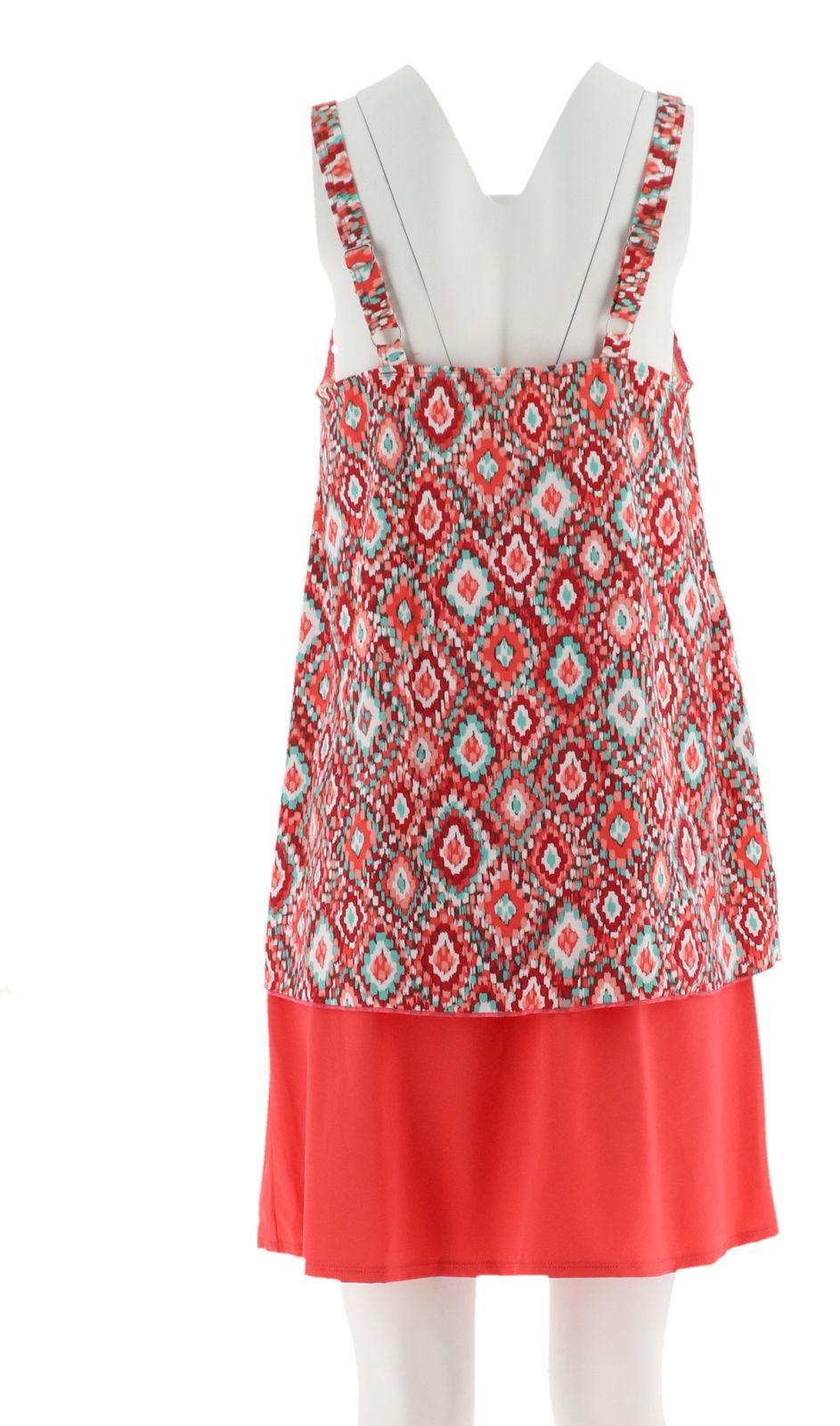Denim& Co Beach Hi-Low Tankini Swimsuit Skirt Coral Ikat 18W NEW A303155