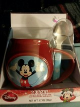 Disney Mickey Mouse Red Coffee Mug Set With Spoon New No Coca - $6.93