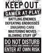 Kalan Keep Out Gamer at Play Enter at Own Risk Funny Novelty Tin Sign Door - $9.99