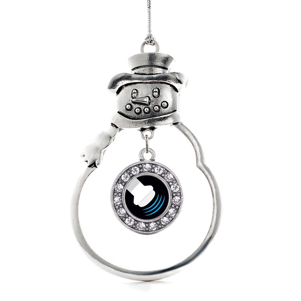 Inspired Silver Sonographer Circle Snowman Holiday Ornament - $14.69
