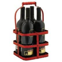 Portable Bottle Carrier, Wood Handle Big Red Metal 4 Wine Bottle Holder ... - $34.94