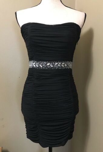 Forever 21 Sexy Black Ruched Beaded Strapless Mini Party Cocktail Club Dress M