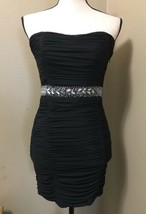 Forever 21 Sexy Black Ruched Beaded Strapless Mini Party Cocktail Club Dress M - $14.50