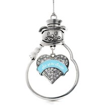 Inspired Silver Light Blue Sis of the Bride Pave Heart Snowman Holiday Decoratio - $14.69