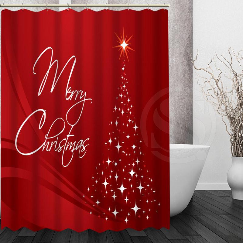 2017 New arrival Custom Bath curtain Waterproof Modern merry  Christmas tree Sho