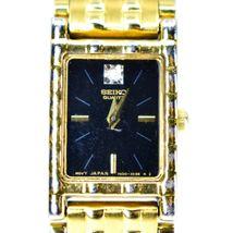 Seiko 1N00-6C09 Gold Tone Stainless Rectangle Diamond Accent Quartz Wristwatch image 3