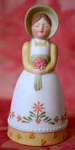 AVON Bell Lady with bonnet Apron & Flower Bouquet 1985  over 3 inches tall - $11.29