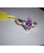 Purple Amethyst Marquise Solitaire Ring, 925 Sterling Silver, Size 7, 1.... - $28.50