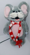 Vintage plush gray mouse pink ears tummy string tail red white scarf SWI... - $14.84