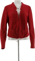 C Wonder Long Slv Knit Tweed Crop Notch Collar Blazer Rumba Red XL NEW A... - $34.63