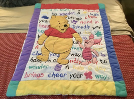 Vintage Disney Winnie the Pooh Piglet Crib Toddler Quilt Comforter Blanket - $148.50
