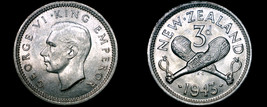 1943 New Zealand 3 Pence World Silver Coin - $39.99