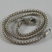 SOLID 18K WHITE GOLD BRACELET, BASKET ROUND LINK, 7.50 INCH LONG, MADE IN ITALY image 2