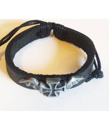 black leather goth cuff bracelet cross bat wing unisex biker punk rock j... - $2.50