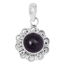 Garnet Round Cab 9 mm Gemstone 925 Sterling Silver  New design Pendant - $24.92