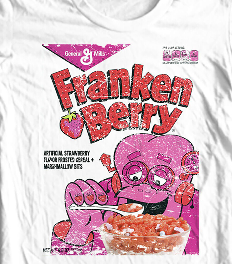 FrankenBerry box T-shirt Monster Cereal Boo-Berry Chocula retro 80's cotton tee