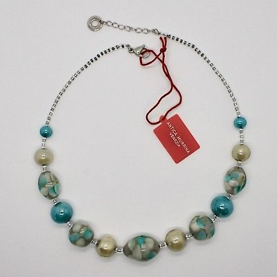 NECKLACE ANTIQUE MURRINA VENICE WITH MURANO GLASS BEIGE TURQUOISE GREEN COA10A59