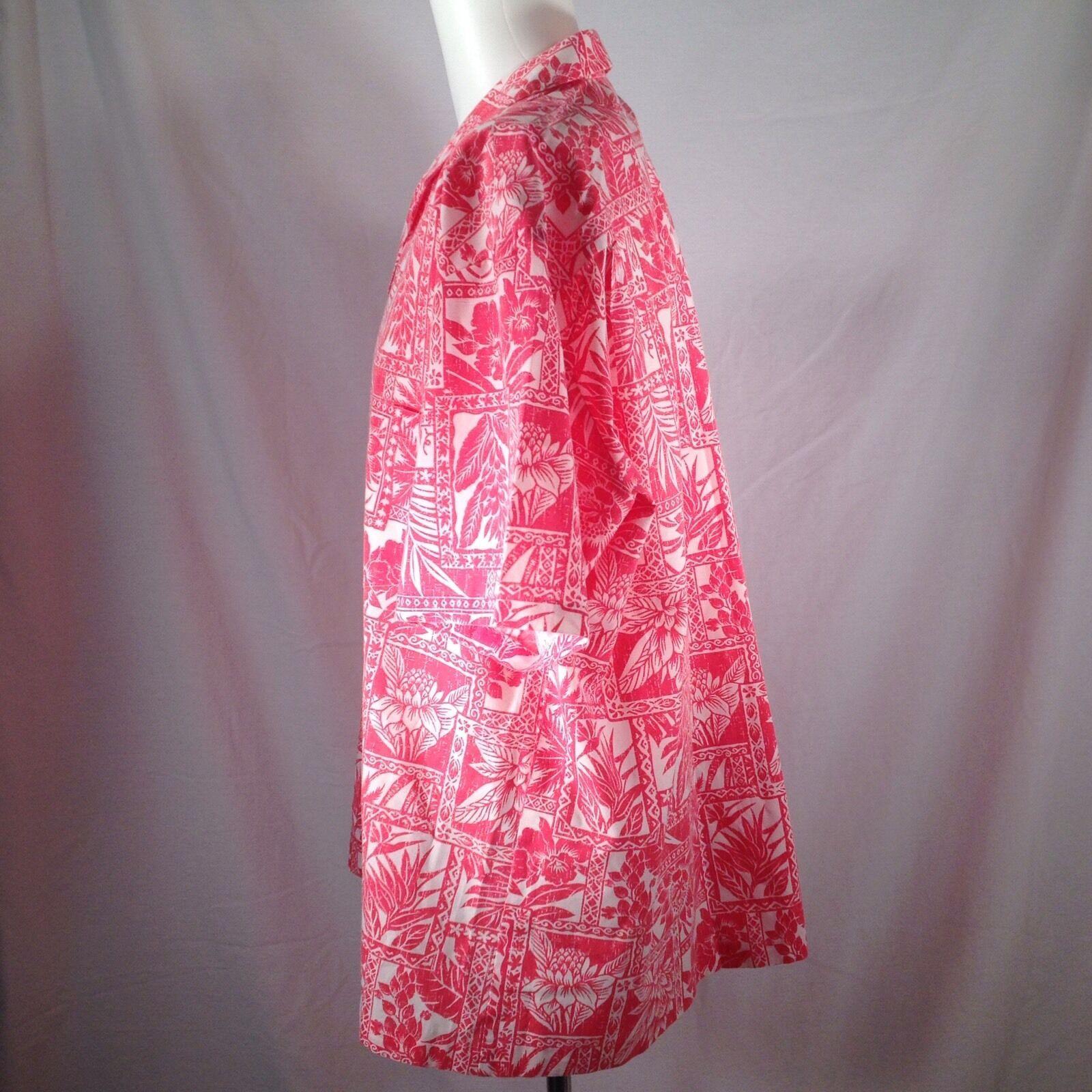 Royal Creations Hawaiian Shirt XL Aloha Floral Batik Matched Pocket Botanical