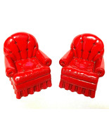 Two Hallmark Red Christmas Chairs WithSitting Shelf String Legs Cardinal... - $47.52