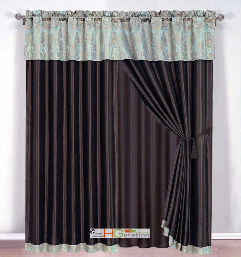 Primary image for 4-Pc Damask Medallion Clamshell Jacquard Curtain Set Seafoam Blue Valance Drape