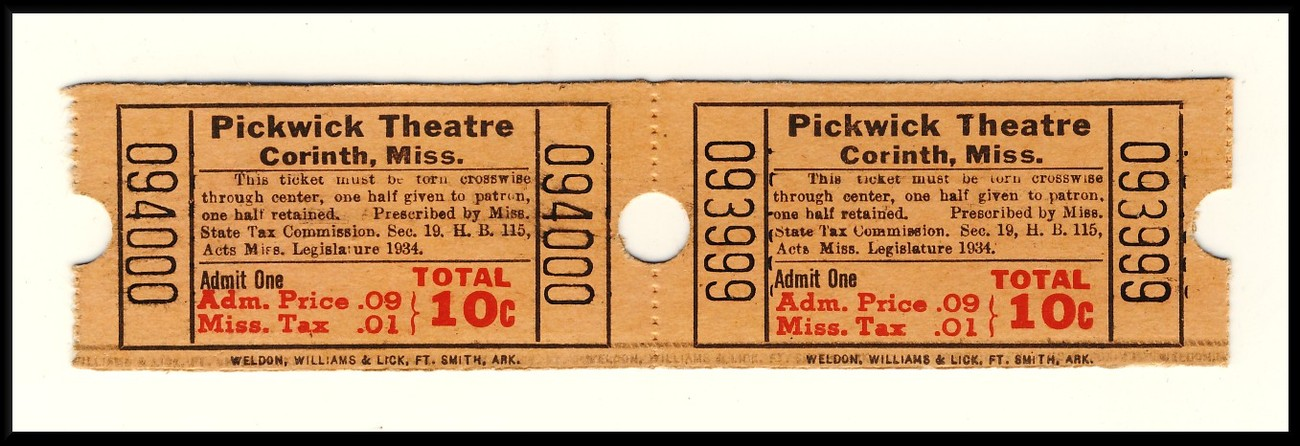 2 Pickwick Theatre Tickets, Corinth, Mississippi/MI, 1950's?