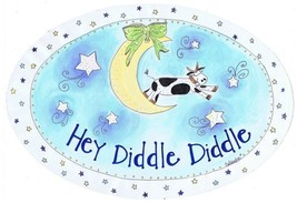The Kids Room by Stupell Hey Diddle Diddle with The Cow on The Moon Oval... - $15.13