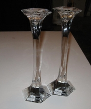 Crystal Mikasa Helmsley Candlesticks Pair New - $49.00