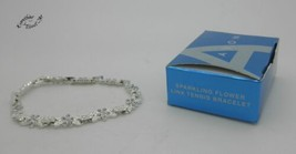 AVON Sparkling Flower Link Tennis Bracelet - $14.99