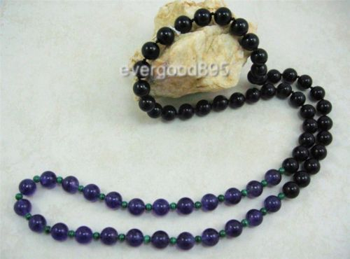 Primary image for VINTAGE GEMS10mm Amethyst onyx Malachite necklace 32""