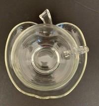 Vintage Hazel Atlas Orchard Clear Glass Apple Teacup and Saucer Set Midc... - $7.70